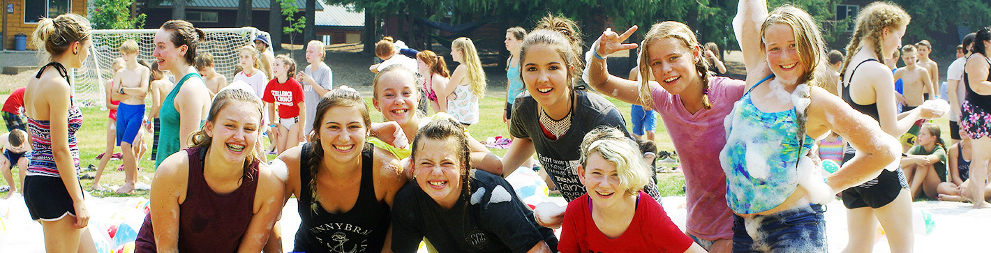 campers posing after a foam fight
